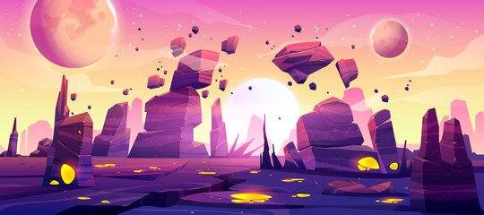 Alien planet landscape for space game background. Vector cartoon fantasy illustration of cosmos and planet surface with rocks, cracks, glowing spots and mist for gui game design Fotomurales