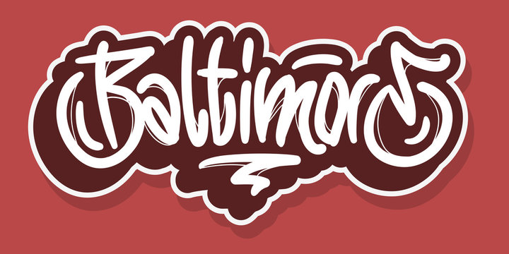 Baltimore Maryland Usa Hand Drawn Lettering Vector Design.
