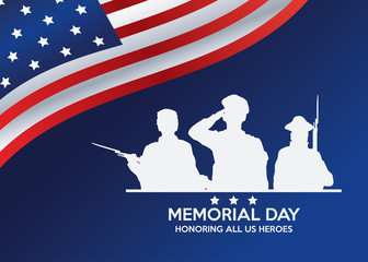 memorial day celebration poster with usa flag Fotomurales