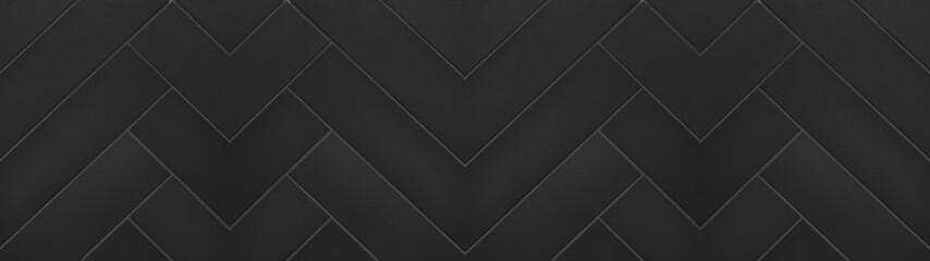 Obraz Black anthracite geometric herringbone texture tiles background banner panorama long - fototapety do salonu