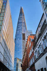 UK, England, London, Low angle view of Shard skyscraper