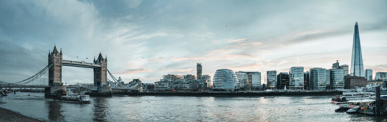 UK, England, London, Panorama of River Thames and surrounding city buildings