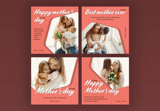 Mother's Day Social Media Post Layout Set with Pink Accents