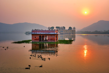 Fotomurales - Tranquil morning at famous indian tourist landmark Jal Mahal (Water Palace) at sunrise in Jaipur. Ducks and birds around enjoy the serene morning. Jaipur, Rajasthan, India