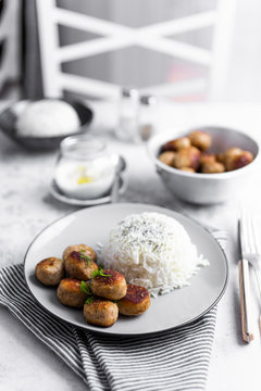 Plate of chicken meatballs with rice