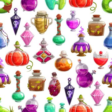 Magic potion bottles vector seamless pattern. Halloween background of glass bottles and flasks with poison or elixir drinks. Witch, wizard or evil magician jars with corks, skulls and claws