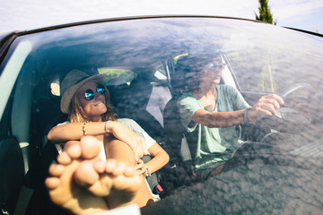 Two female friends on a road trip
