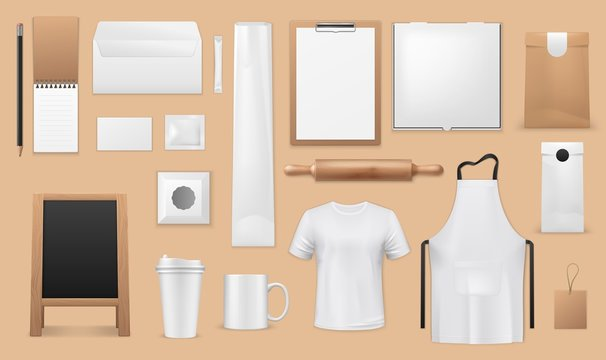 Bakery and pastry shop corporate identity realistic templates. Vector blank mockups of apron, bread and croissant paper bags, food packages, uniform t-shirt and menu boards, coffee cups, sugar sachet