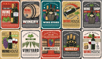 Wine and champagne winery drinks vector design with alcohol beverage bottles, barrels and glasses, grapes, vineyard grape vines and corkscrew, cheese and bread snack food. Wine shop retro posters Fototapete