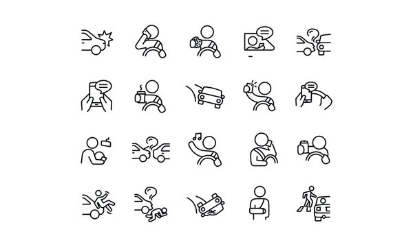 Distracted Driving icons vector design