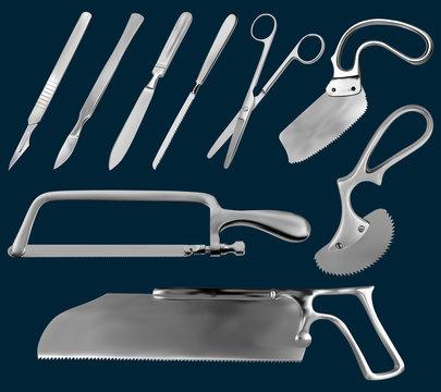 Set of surgical cutting tools. Reusable scalpels, Liston amputation knife , metacarpal saw, straight scissors, saw sheet Satterlee, Bergman Engel saws for plaster bandage,Charriere Bone Saw. Vector