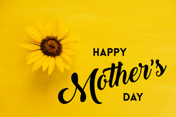 Yellow sunflower on bright Mother's day background with text. Fotobehang