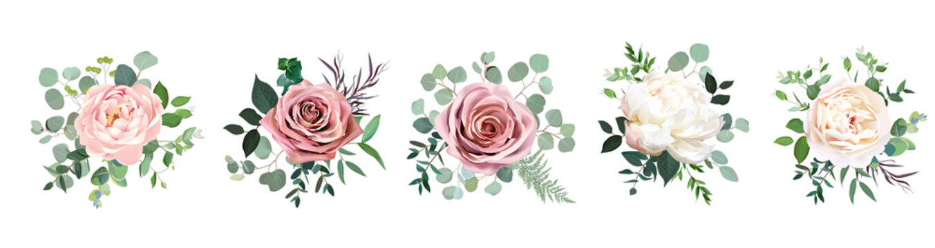 Dusty pink blush, white and creamy rose flowers vector design wedding bouquets