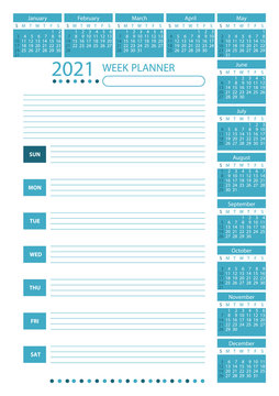 2021 Week Planner Calendar. Teal color. Week starts sunday