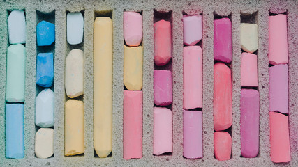 old colorful pastel in box