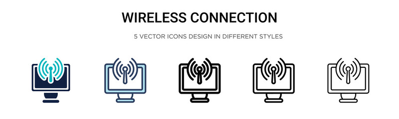 Wireless connection icon in filled, thin line, outline and stroke style. Vector illustration of two colored and black wireless connection vector icons designs can be used for mobile, ui,