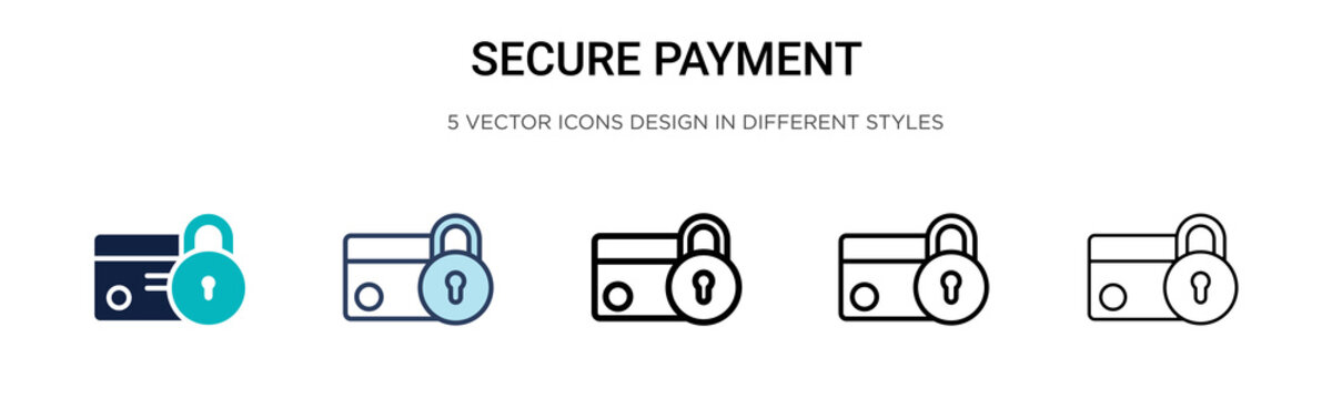 Secure payment icon in filled, thin line, outline and stroke style. Vector illustration of two colored and black secure payment vector icons designs can be used for mobile, ui,