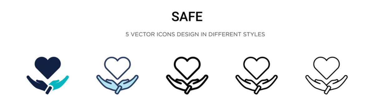 Safe icon in filled, thin line, outline and stroke style. Vector illustration of two colored and black safe vector icons designs can be used for mobile, ui,