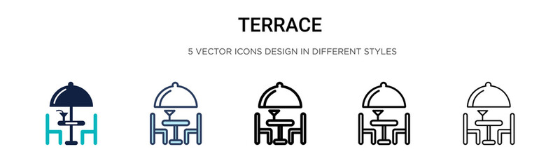 Terrace icon in filled, thin line, outline and stroke style. Vector illustration of two colored and black terrace vector icons designs can be used for mobile, ui, Wall mural