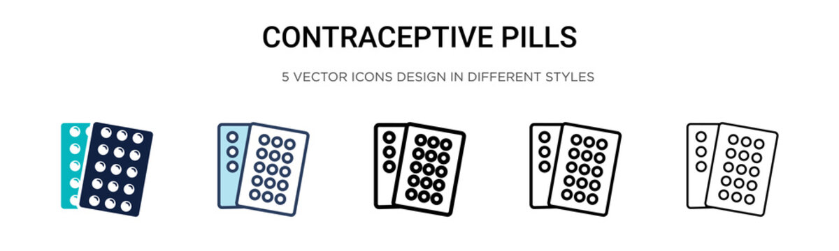 Contraceptive pills icon in filled, thin line, outline and stroke style. Vector illustration of two colored and black contraceptive pills vector icons designs can be used for mobile, ui,