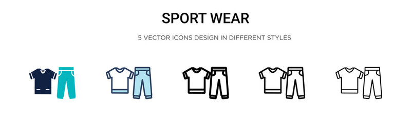 Sport wear icon in filled, thin line, outline and stroke style. Vector illustration of two colored and black sport wear vector icons designs can be used for mobile, ui,