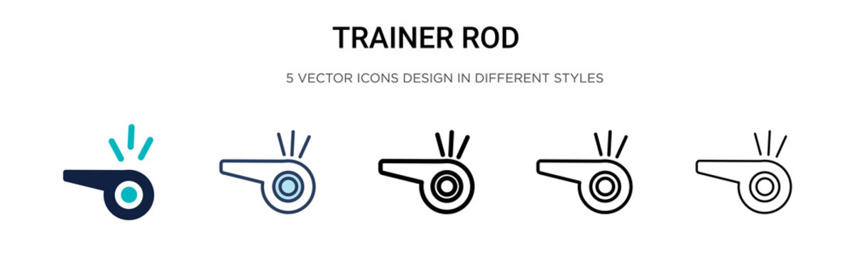 Trainer rod icon in filled, thin line, outline and stroke style. Vector illustration of two colored and black trainer rod vector icons designs can be used for mobile, ui,