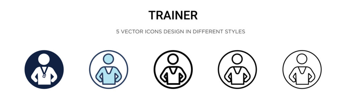 Trainer icon in filled, thin line, outline and stroke style. Vector illustration of two colored and black trainer vector icons designs can be used for mobile, ui,