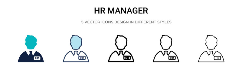 Hr manager icon in filled, thin line, outline and stroke style. Vector illustration of two colored and black hr manager vector icons designs can be used for mobile, ui,