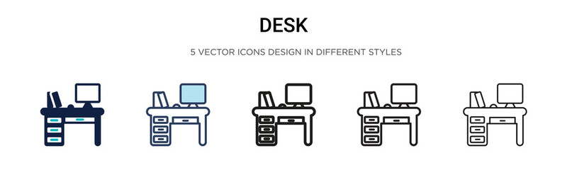 Desk icon in filled, thin line, outline and stroke style. Vector illustration of two colored and black desk vector icons designs can be used for mobile, ui, Wall mural