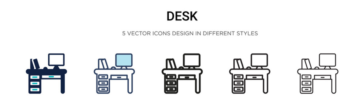 Desk icon in filled, thin line, outline and stroke style. Vector illustration of two colored and black desk vector icons designs can be used for mobile, ui,