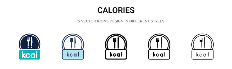 Calories icon in filled, thin line, outline and stroke style. Vector illustration of two colored and black calories vector icons designs can be used for mobile, ui, Wall mural