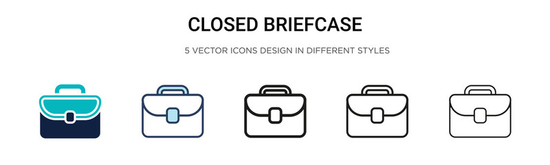 Closed briefcase icon in filled, thin line, outline and stroke style. Vector illustration of two colored and black closed briefcase vector icons designs can be used for mobile, ui,