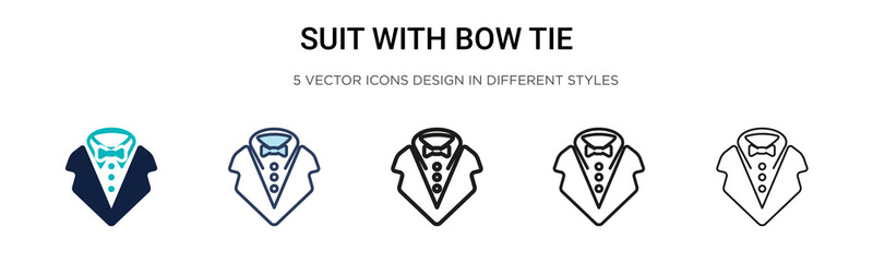 Suit with bow tie icon in filled, thin line, outline and stroke style. Vector illustration of two colored and black suit with bow tie vector icons designs can be used for mobile, ui, Fotobehang