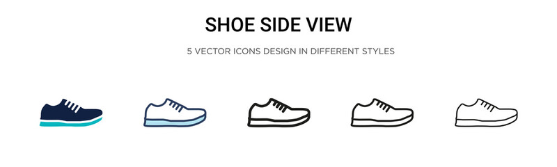 Shoe side view icon in filled, thin line, outline and stroke style. Vector illustration of two colored and black shoe side view vector icons designs can be used for mobile, ui, Wall mural