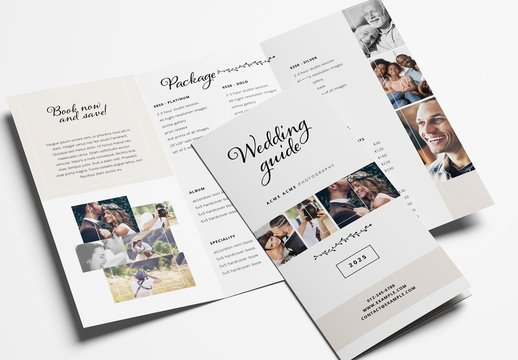 Wedding Photography Trifold Brochure Layout