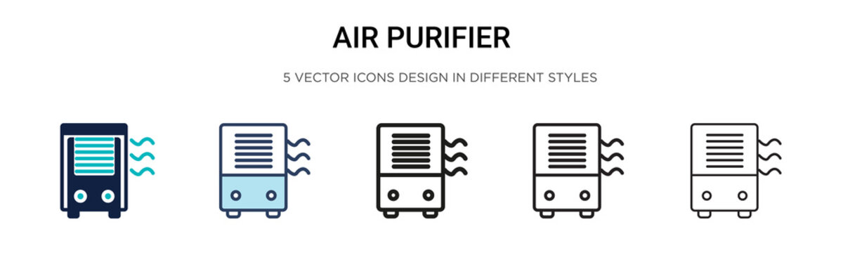Air purifier icon in filled, thin line, outline and stroke style. Vector illustration of two colored and black air purifier vector icons designs can be used for mobile, ui,
