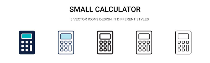 Small calculator icon in filled, thin line, outline and stroke style. Vector illustration of two colored and black small calculator vector icons designs can be used for mobile, ui,