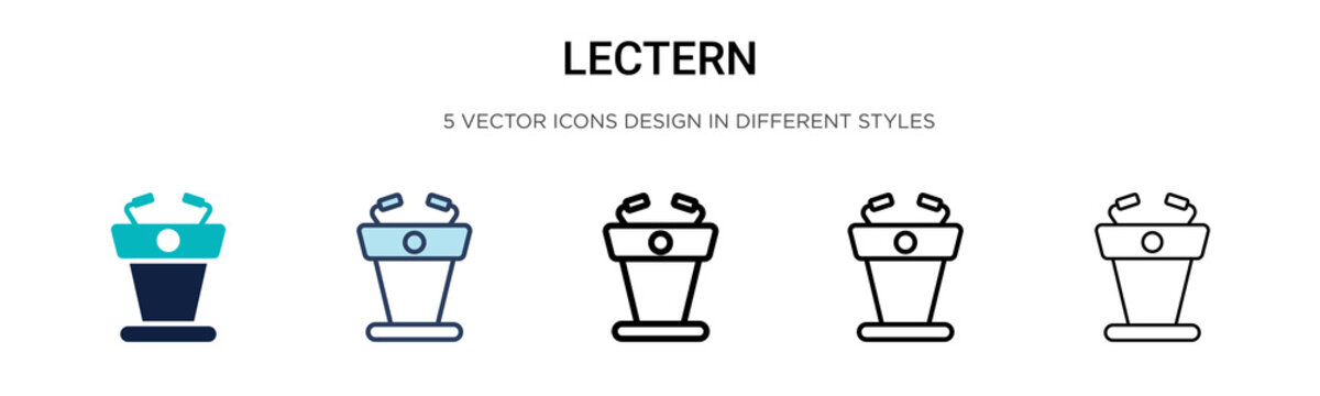 Lectern icon in filled, thin line, outline and stroke style. Vector illustration of two colored and black lectern vector icons designs can be used for mobile, ui,