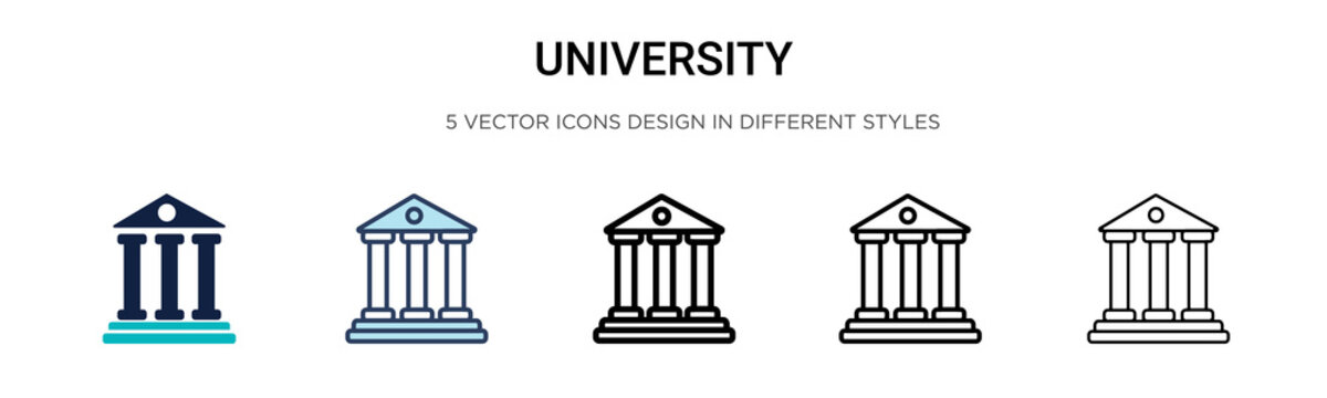 University icon in filled, thin line, outline and stroke style. Vector illustration of two colored and black university vector icons designs can be used for mobile, ui,