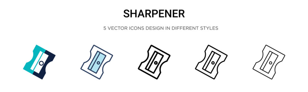 Sharpener icon in filled, thin line, outline and stroke style. Vector illustration of two colored and black sharpener vector icons designs can be used for mobile, ui,