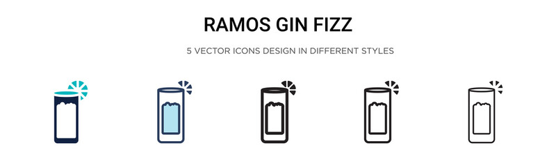 Ramos gin fizz icon in filled, thin line, outline and stroke style. Vector illustration of two colored and black ramos gin fizz vector icons designs can be used for mobile, ui,