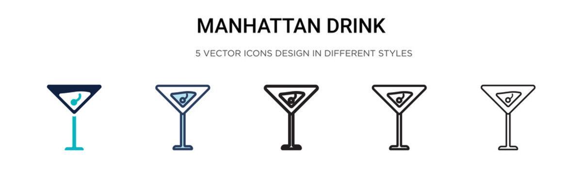 Manhattan drink icon in filled, thin line, outline and stroke style. Vector illustration of two colored and black manhattan drink vector icons designs can be used for mobile, ui,
