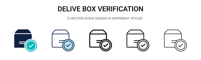Delivered box verification icon in filled, thin line, outline and stroke style. Vector illustration of two colored and black delivered box verification vector icons designs can be used for mobile,
