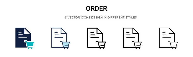 Order icon in filled, thin line, outline and stroke style. Vector illustration of two colored and black order vector icons designs can be used for mobile, ui, Wall mural
