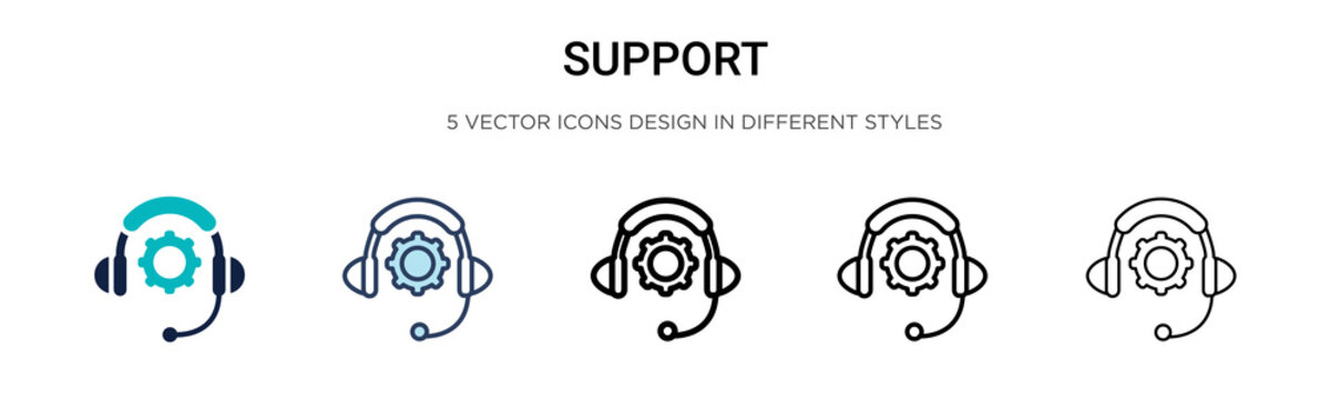 Support icon in filled, thin line, outline and stroke style. Vector illustration of two colored and black support vector icons designs can be used for mobile, ui,