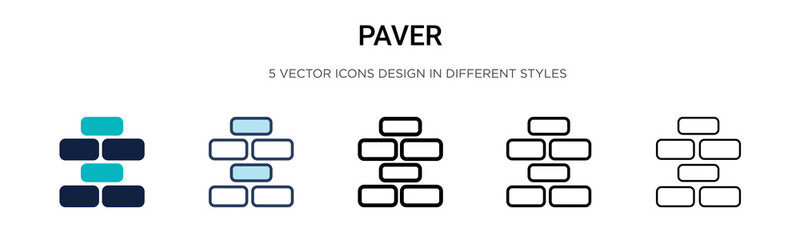 Paver icon in filled, thin line, outline and stroke style. Vector illustration of two colored and black paver vector icons designs can be used for mobile, ui,