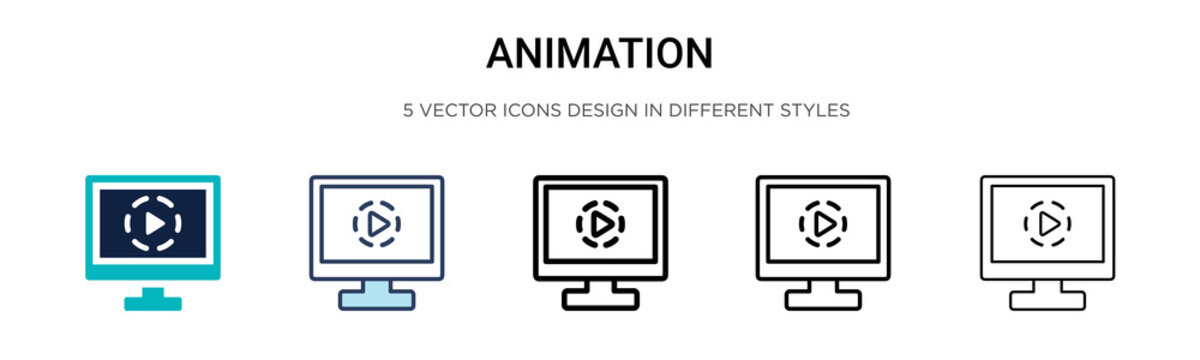 Animation icon in filled, thin line, outline and stroke style. Vector illustration of two colored and black animation vector icons designs can be used for mobile, ui,