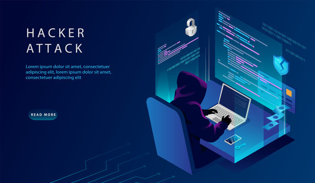 Isometric Internet And Personal Data Hacker Attack Concept. Website Landing Page. The Hacker at The Computer Trying To Hack Security. Credit Card, Bank Account Hacking. Web Page Vector Illustration