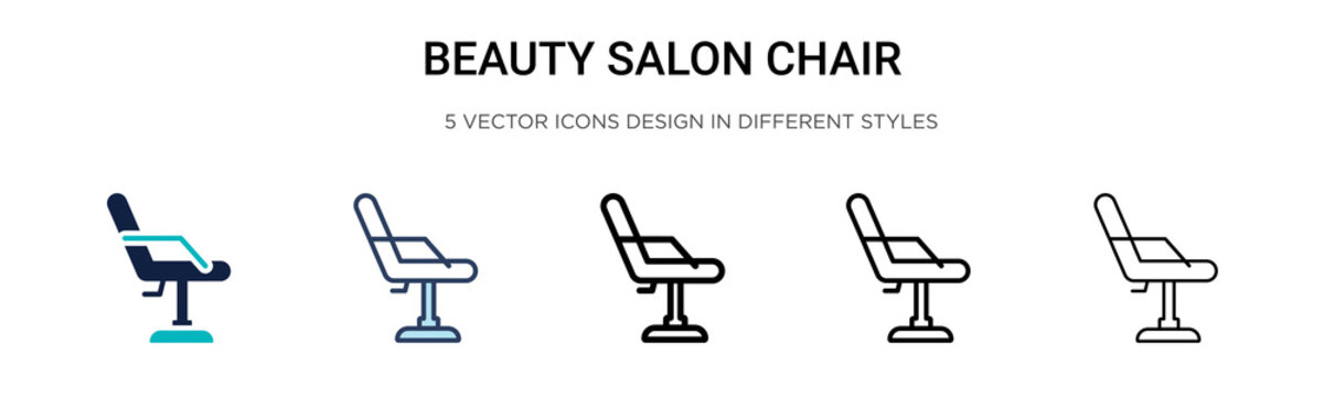 Beauty salon chair icon in filled, thin line, outline and stroke style. Vector illustration of two colored and black beauty salon chair vector icons designs can be used for mobile, ui,