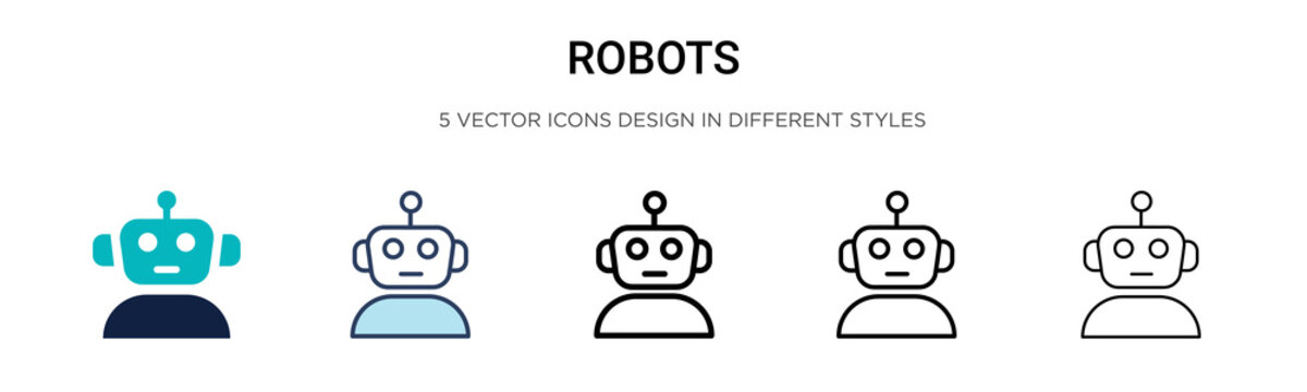 Robots icon in filled, thin line, outline and stroke style. Vector illustration of two colored and black robots vector icons designs can be used for mobile, ui,